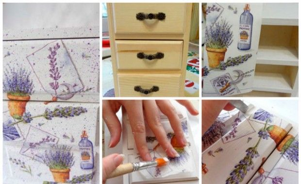 Decoupage furniture wipes his hands