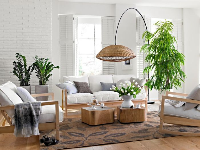 Live plants make romantic even restrained interior.