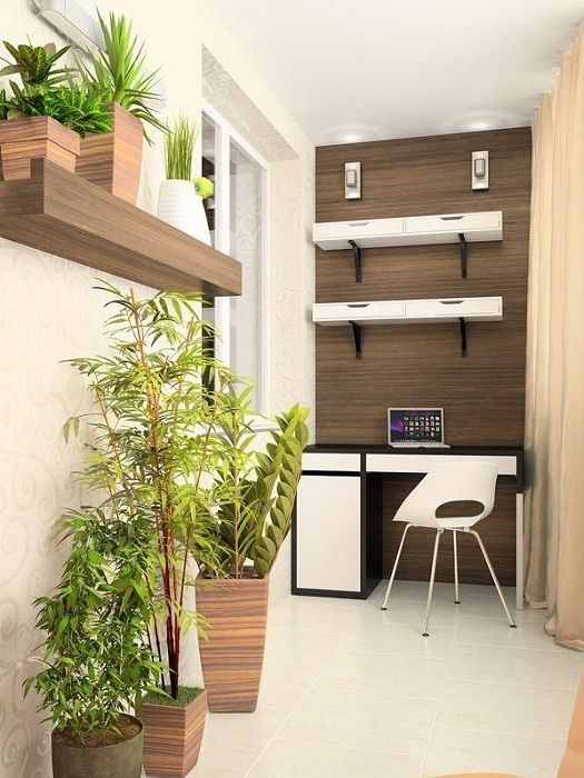 Pretty option to create the perfect solution and an interesting interior in the compact design of the room for a home office.