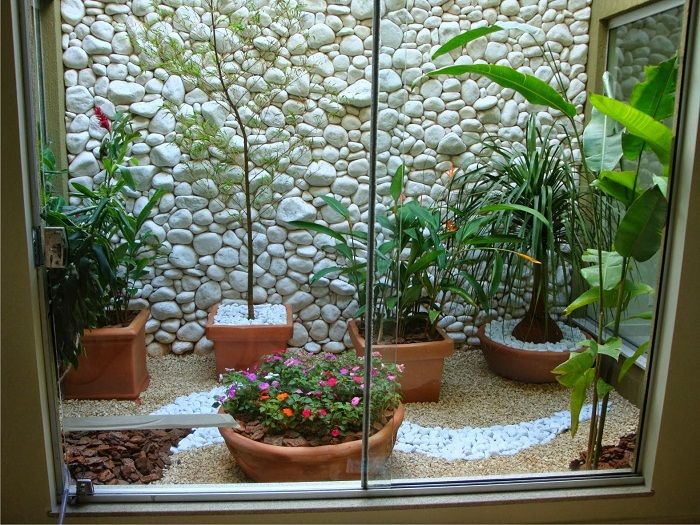 One of the best solutions is the ability to create a cool interior with a mini-garden behind the glass.
