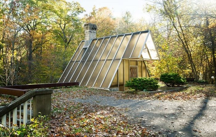 A-frame Home - house, hidden in the woods.