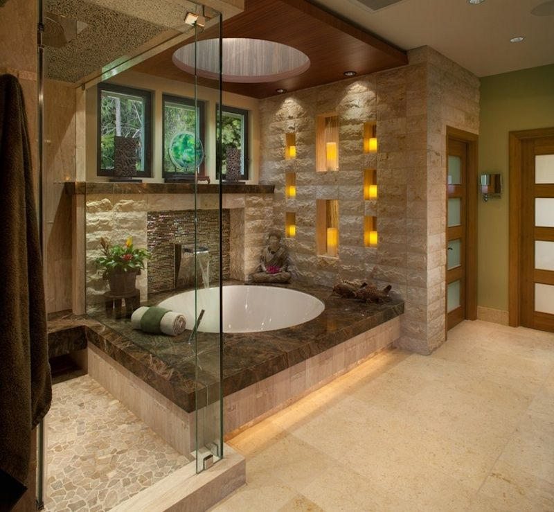 Ceiling lighting system in the interior of the bathroom