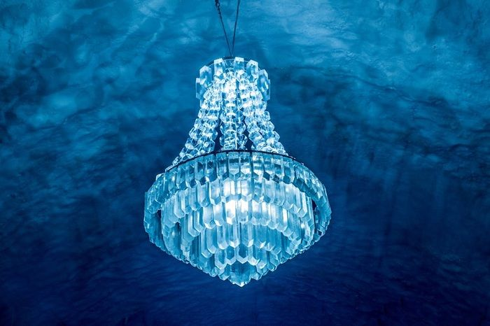 Icehotel 365. Chandelier made of ice.