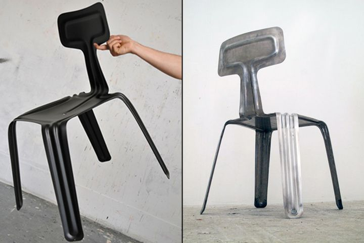 Extruded aluminum chairs from different angles