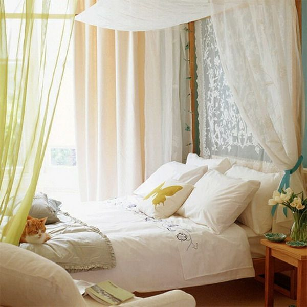 Traditional-Romantic-Bedroom-Design-Ideas-with-Yellow-Curtains-and-Bed-Canopy