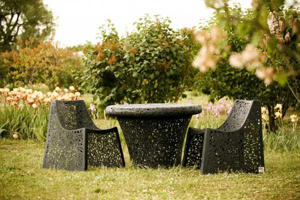 A unique collection of garden furniture made of basalt