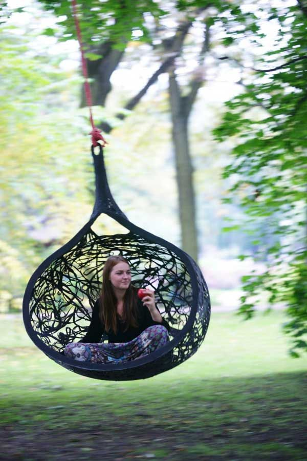 Hanging chair made of basalt