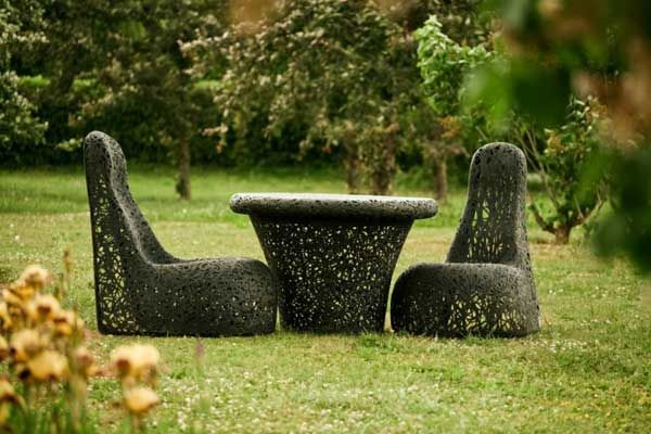 A wonderful collection of outdoor furniture made of basalt
