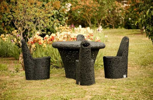 A delightful collection of outdoor furniture made of basalt