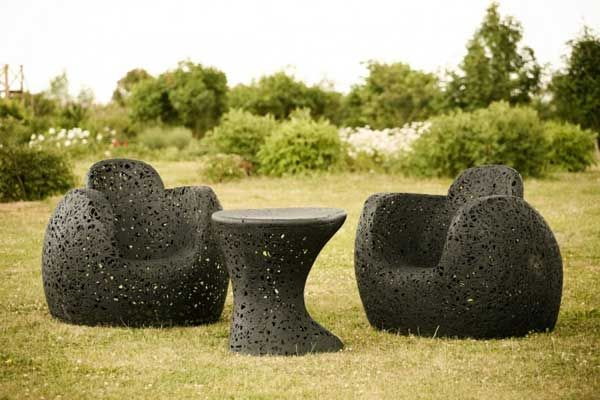 A beautiful collection of garden furniture made of basalt