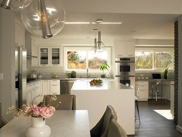 Stylish modern kitchen and dining room