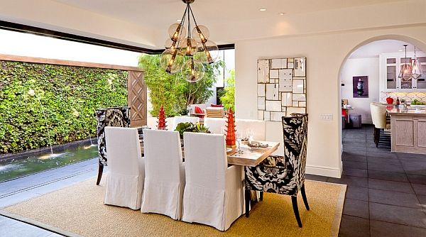The unusual design of the dining area