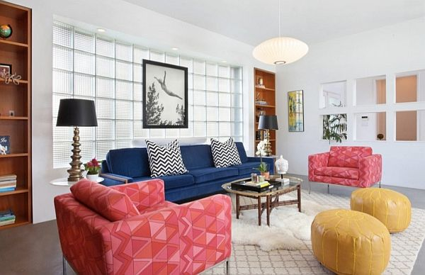 Living room with bright sofas