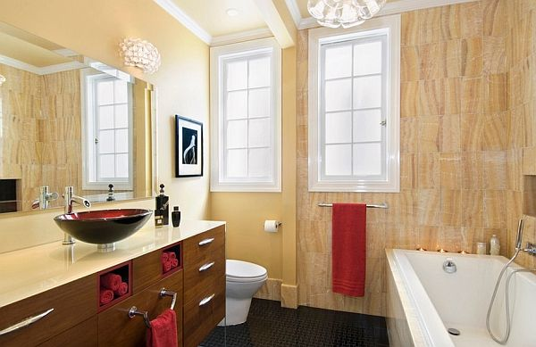 Bathroom with wood trim