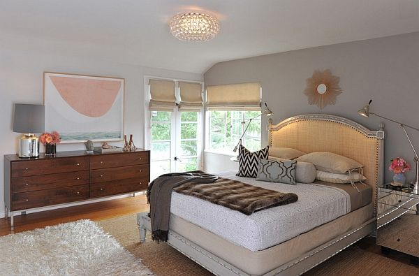 Large master bedroom with elegant bed