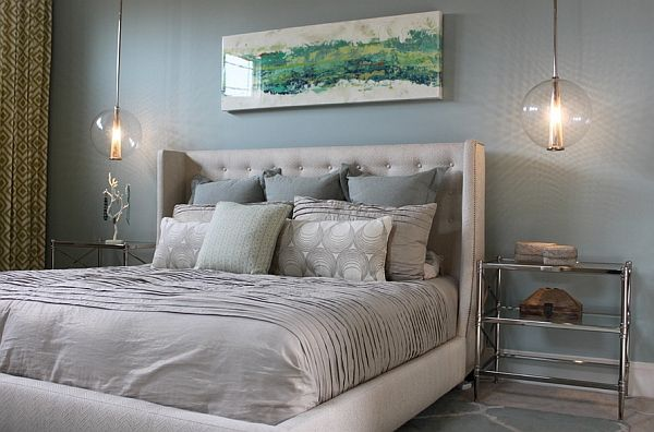 Bedroom in white colors with a large bed
