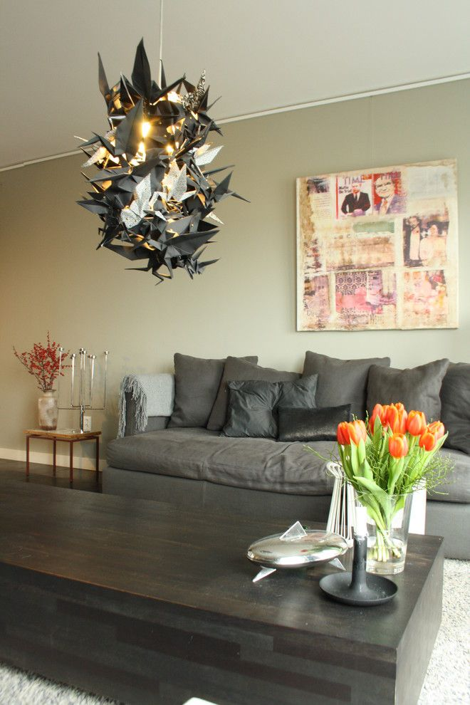 Magnificent pendant light in the interior of the living room