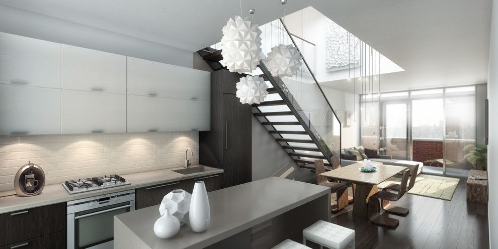 The magnificent pendant lamp in the interior of the kitchen