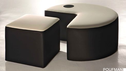 Wonderful Packman ottoman in black