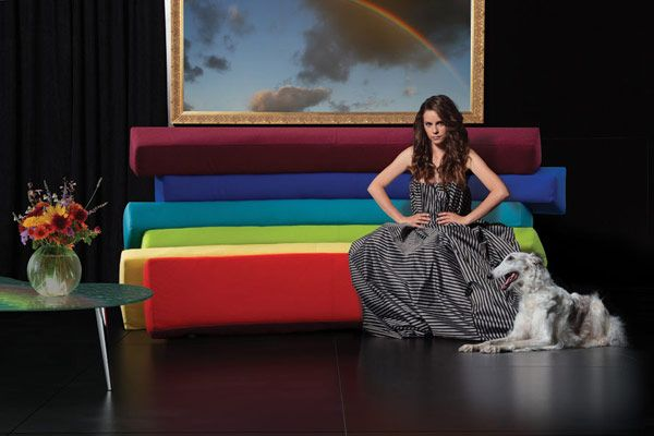 Rainbow sofa in a room with decorative elements