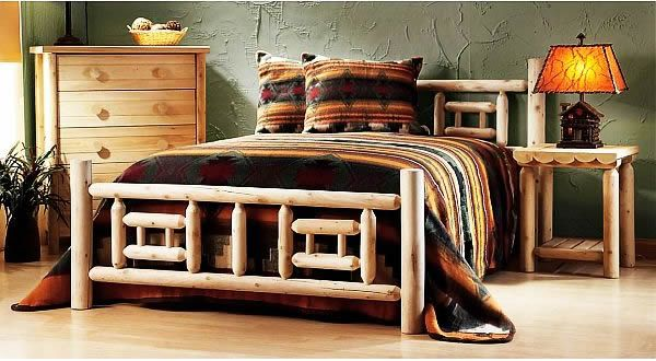 The wooden bed in the bedroom