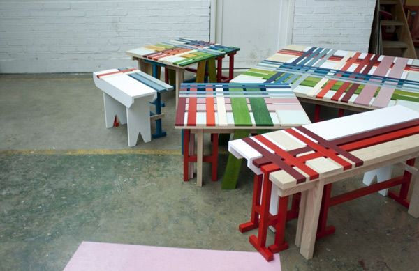 Many of the original multi-colored benches