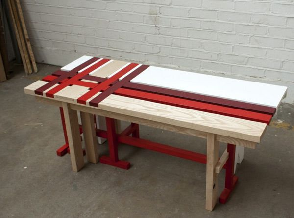 Bench in red and maroon stripes