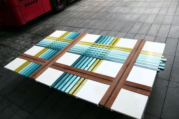 Unique bench of colored stripes