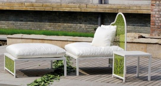 Upholstered furniture in the garden