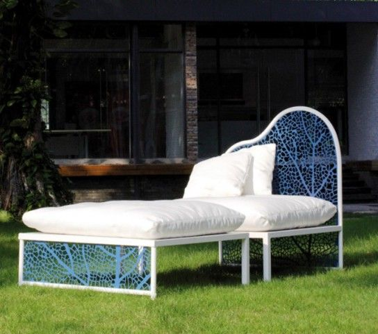 Chair with ottoman in the garden