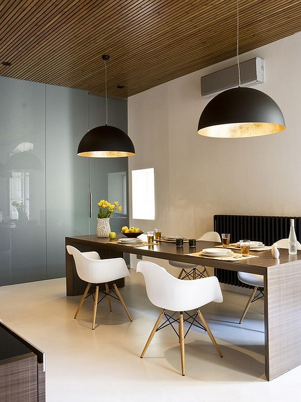 Large pendant lights in the dining room interior