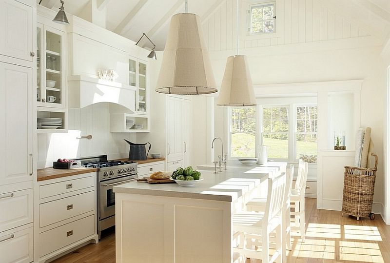 Beautiful pendant lamps in the kitchen interior