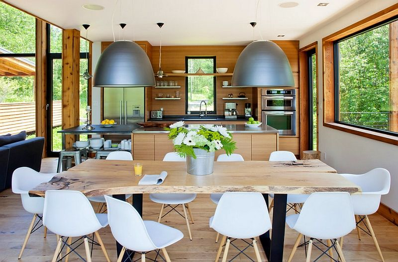 Bulky pendant lights over the dining table
