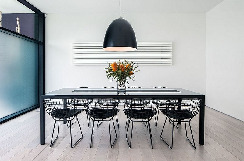 Metal pendant lights over the table