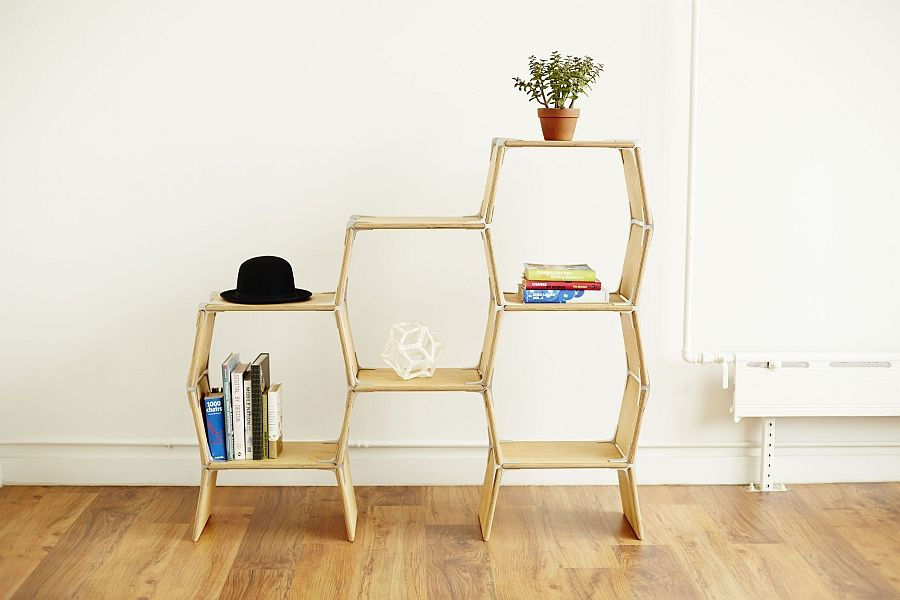 Office shelving with decorative items