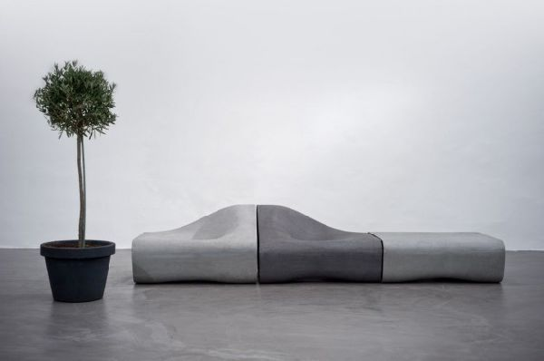 Unique modular furniture made of cement with decorative elements
