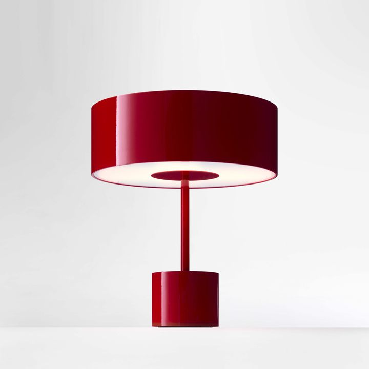 Round table lamp Black Tie in red