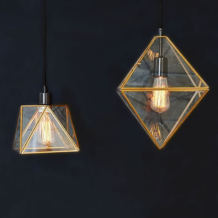 Prism lamps with geometric bubble
