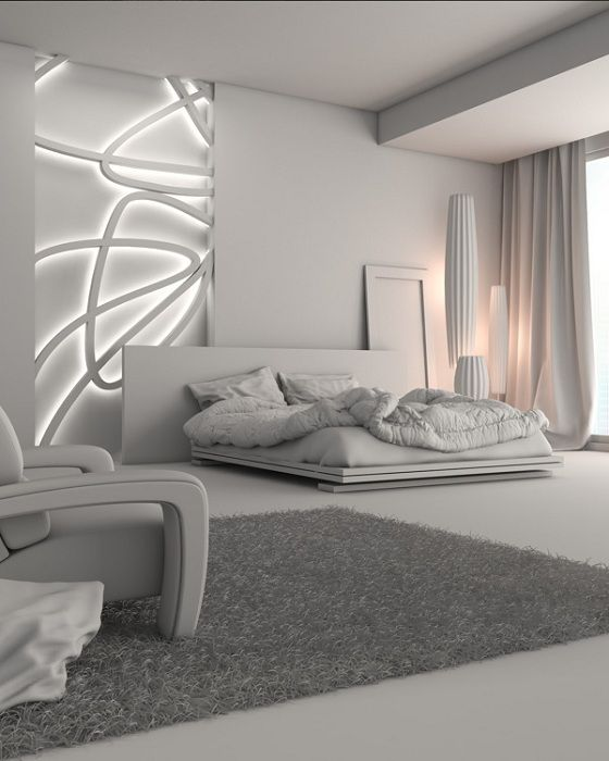 Futuristic interior bedroom looks very attractive and charming.