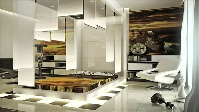 Custom futuristic bedroom in ethnic style.