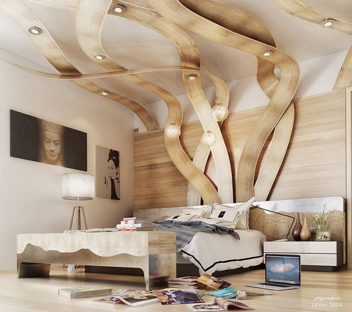 Natural walnut interior style.