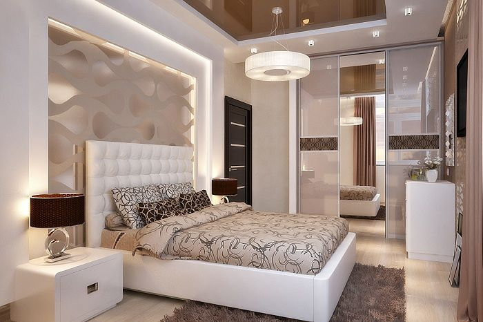 Beautiful decor in the bedroom light and soft colors that will add a special charm to the interior.