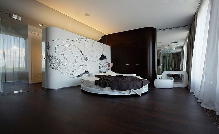 Elegant black and white bedroom interior that will impress absolutely no one.