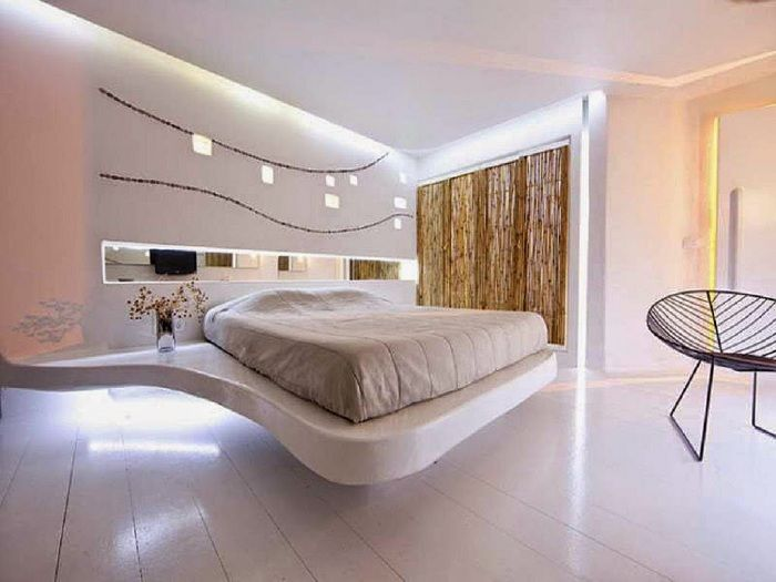 Luxury bedroom in soft cream colors look incredible.