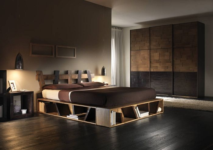 Cool option arrangement bedroom interior in dark chocolate coloring.