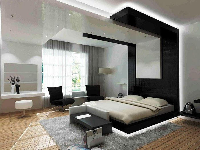 The original black-and-white bedroom in the futuristic style.