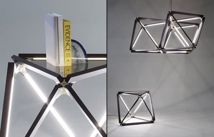 Wonderful coffee table and pendant lamp from X collection by Rux