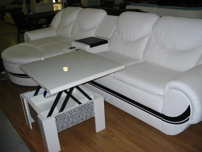 Beautiful convertible table next to the sofa
