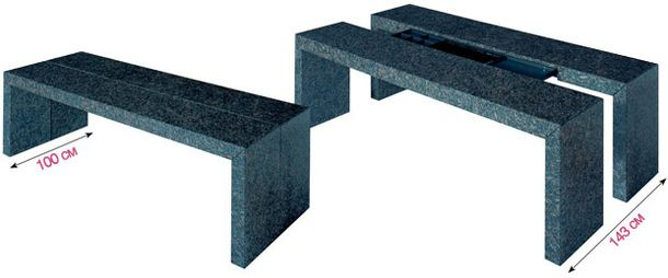 Table of granite, is expanded in width