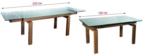 The table is made of transparent glass and cherry wood
